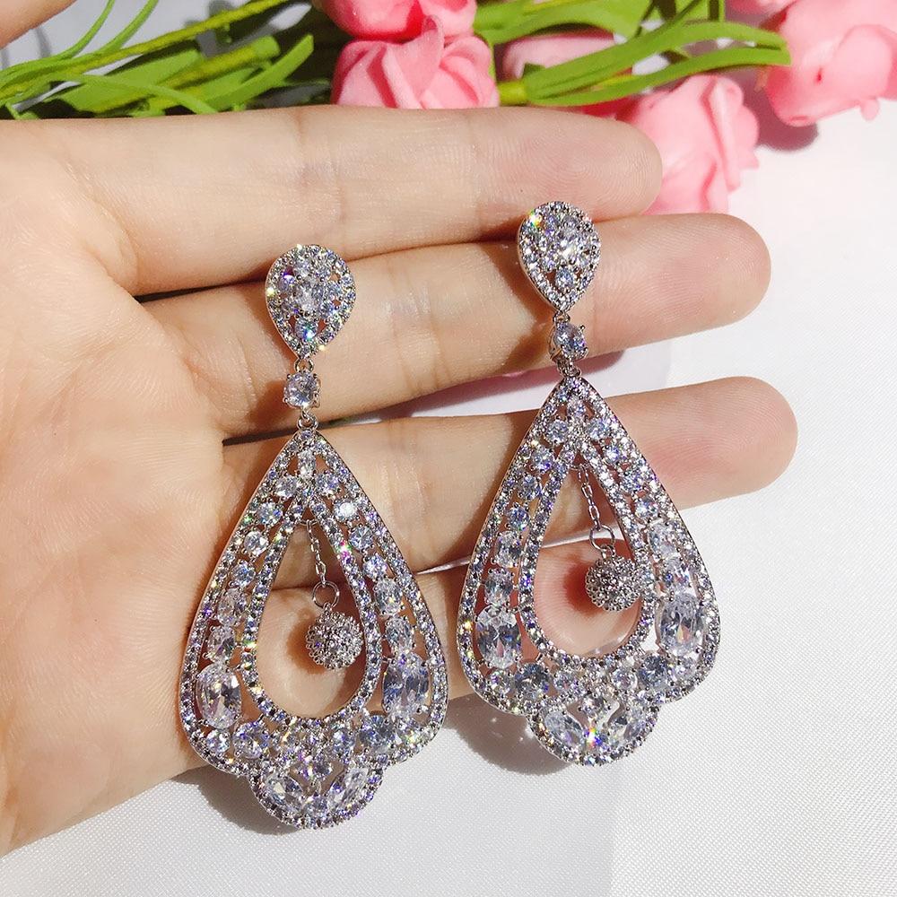 1f6334029 Vintage Design Large Party Earring Jewelry Cubic Zirconia Setting Long  Flower Drop Big Size Fancy Earrings For Women-in Drop Earrings from Jewelry  ...