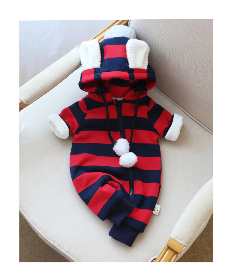 boys girls winter rompers hooded zipper long sleeve fleece thick striped printed overalls clothes children warm clothing 7-24M cotton baby rompers set newborn clothes baby clothing boys girls cartoon jumpsuits long sleeve overalls coveralls autumn winter