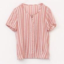 Flower print Short Sleeve Women Blouse Summer Colorful Striped Shirt Elegant Tops Chiffon Shirts Blouses Blusas Femininas 961H