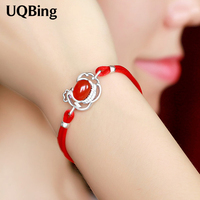 925 Sterling Silver Bracelets With Rhinestone Chicken Charm Bracelets Red Rope Bracelets Jewelry Pulseras Pulseira