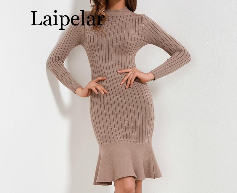 Ruffle Sweater Dress Autumn Winter 2019 New Arrivals Long Sleeve Bodycon Dresses Ladies Knee Length Knitted Sweater Dress Women