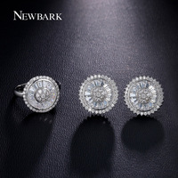 NEWBARK Classic Simple Style Jewelry Sets Silver Color Shiny Round Cubic Zirconia Crystal Top Quality Women Fashion Jewelry