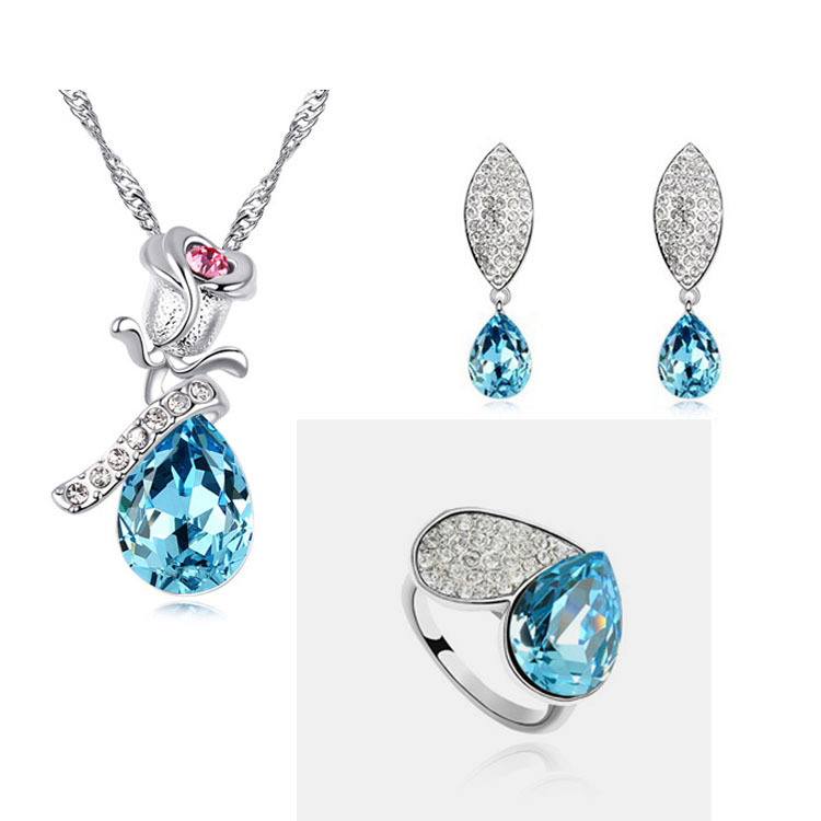 Hot Sale Jewelry Set Silver Austrian Crystal Accesories Earring/Necklace/Ring Flower Set ...