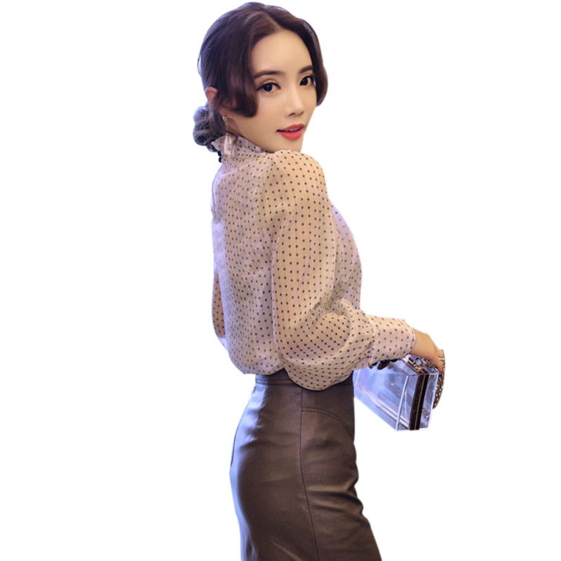 Chiffon Blouse Women Polka Dot Print Full Sleeves Office Lady Lace Women Blouses Elegant Colors