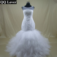 QQ Lover 2017 New African Big Train Mermaid Wedding Dress Custom-made Bridal Gown Vestido De Noiva