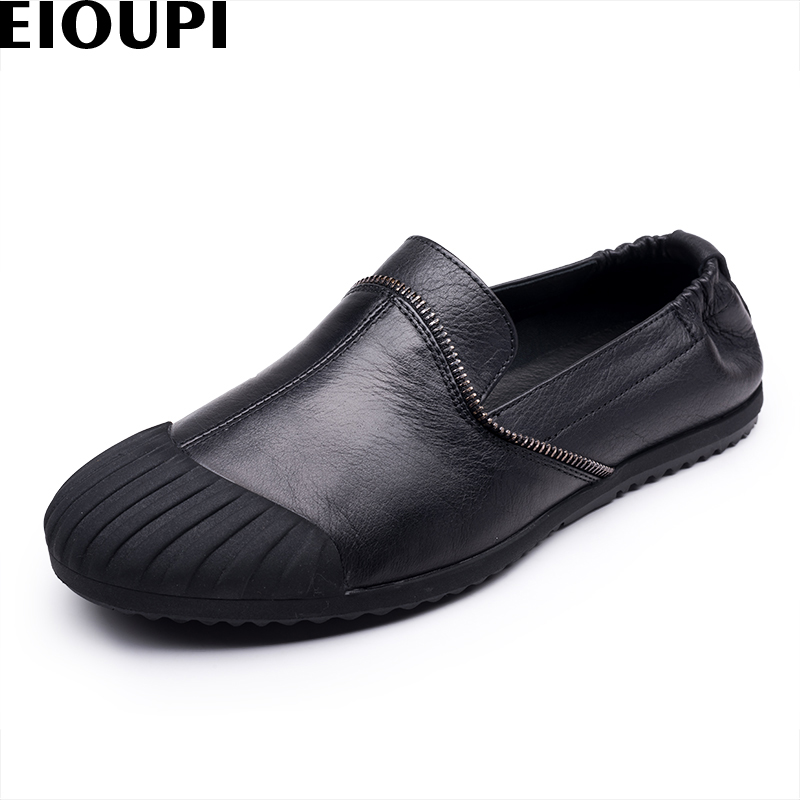 EIOUPI new design genuine real leather mens fashion business casual retro shoe breathable men shoes e881 2017 new spring imported leather men s shoes white eather shoes breathable sneaker fashion men casual shoes