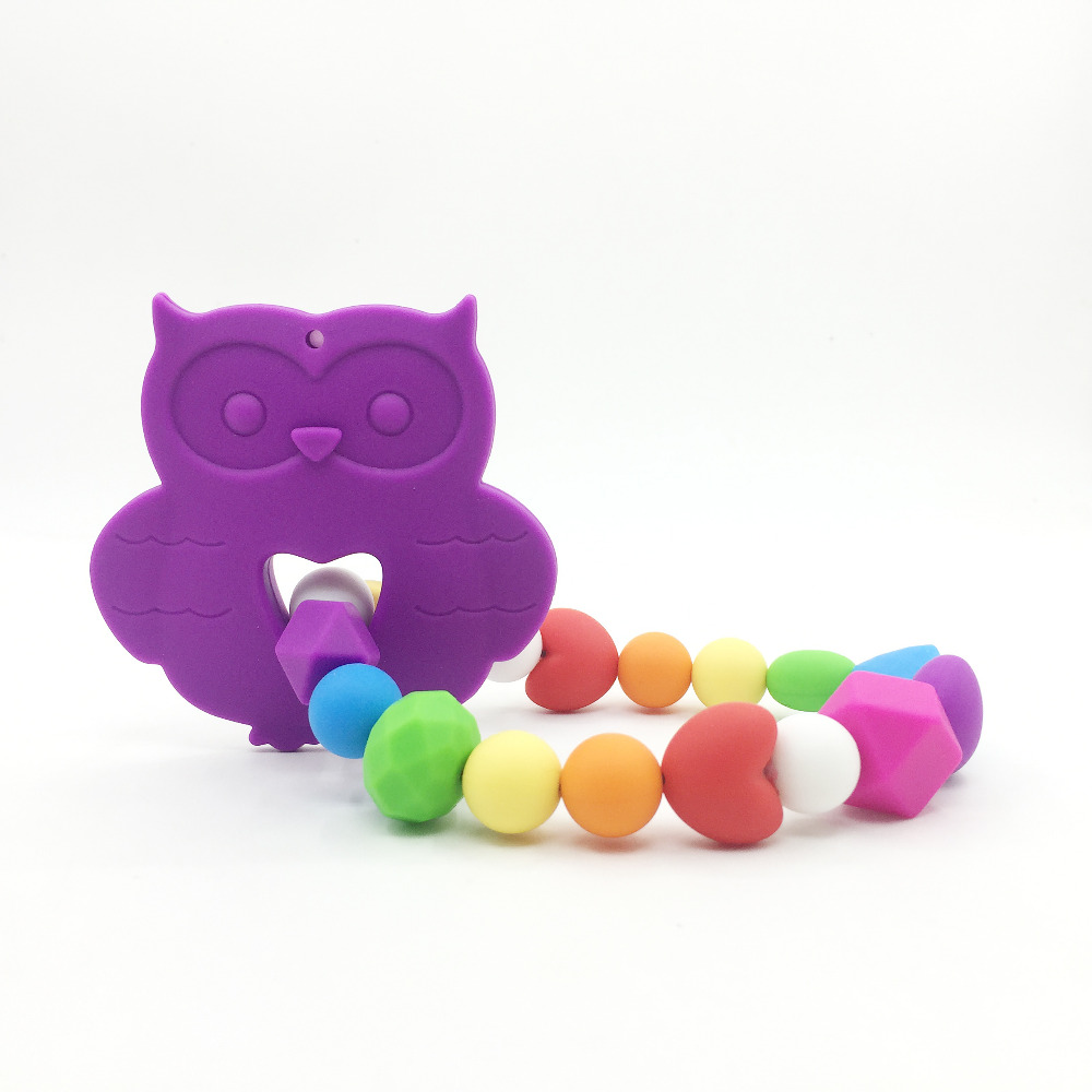 Very Large owl necklace teething toys Silicone Baby Teether Toy pendants necklace for Baby Carrier Food Grade Silicone Carrier
