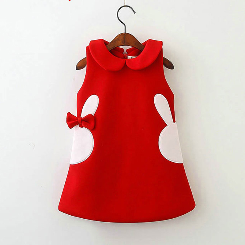 Cute Peter pan Collar Girls Dresses Winter Sundress Cartoon Children Clothing with Bow Thick Clothes Cotton padd Girls Dress D65