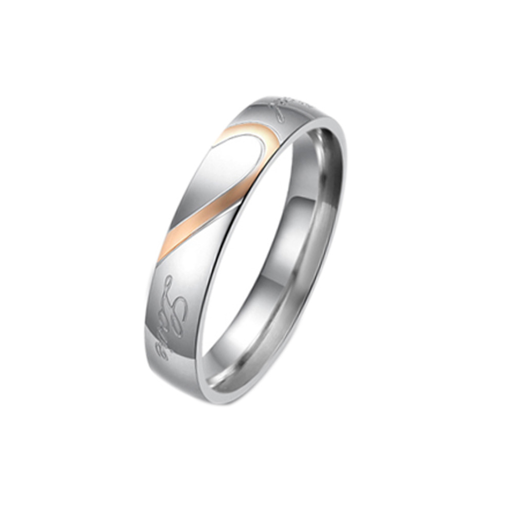 Fashion Valentines Titanium Steel Heart-shaped Puzzle Rings Hold Hands Couple Rings Fine Jewelry