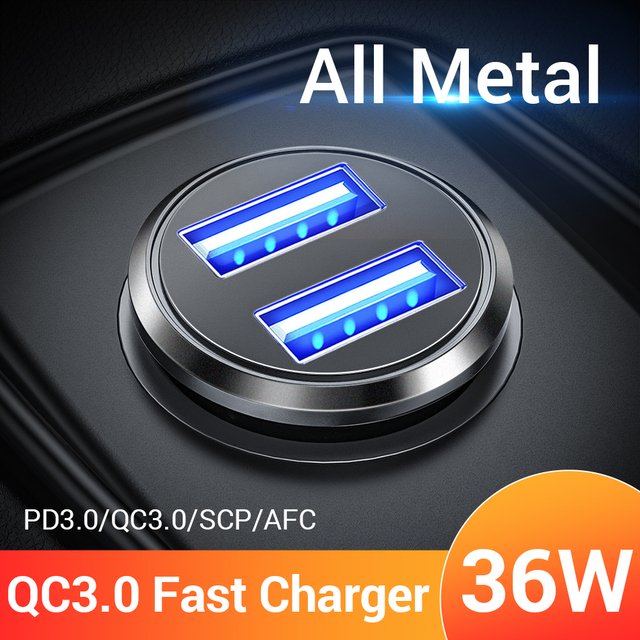 FIVI 36W Car Charger Metal Dual USB Quick Charge QC 3.0 For Xiaomi Huawei Mini Mobile Phone Fast Charger Adapter Car-Charger