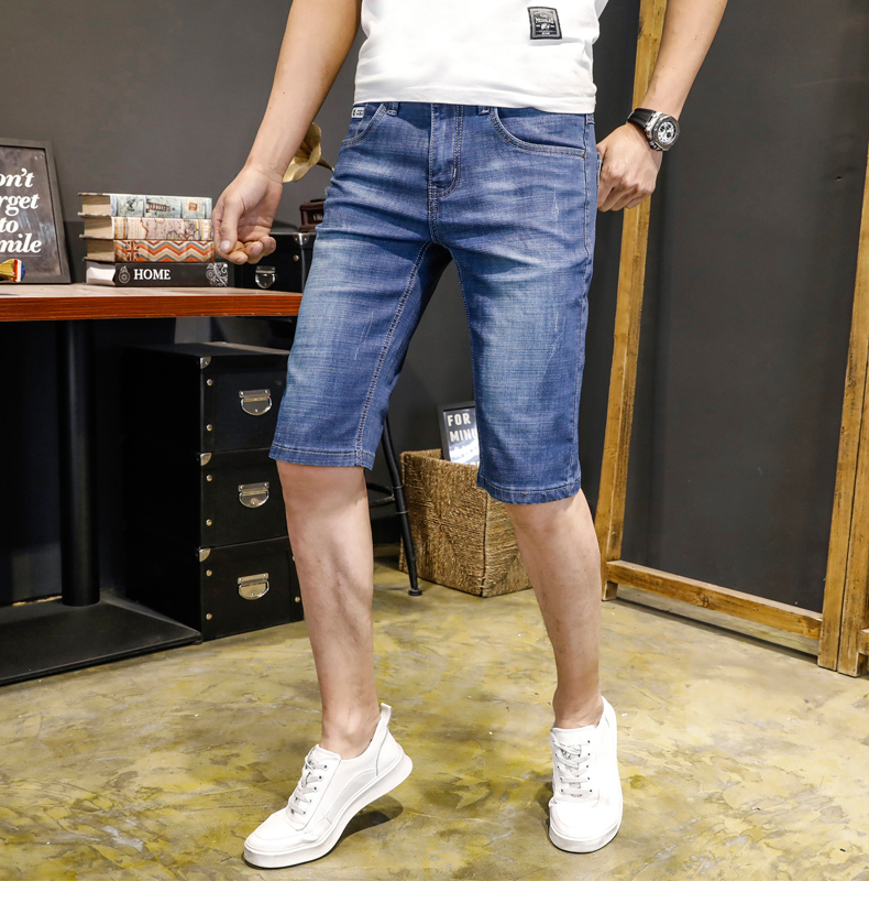 KSTUN Jeans Men Slim Fit Denim Shorts Solid Blue Stretchy Man Jeans Brand 2018 Business Casual Short Jean Pants Cowboys Hombre 12