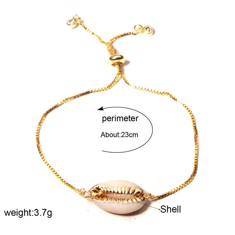 MOON GIRL натуральный золотой цвет оболочки Шарм браслет Мода мода дружба Бохо коври шик женские браслеты ювелирные изделия дропшиппинг