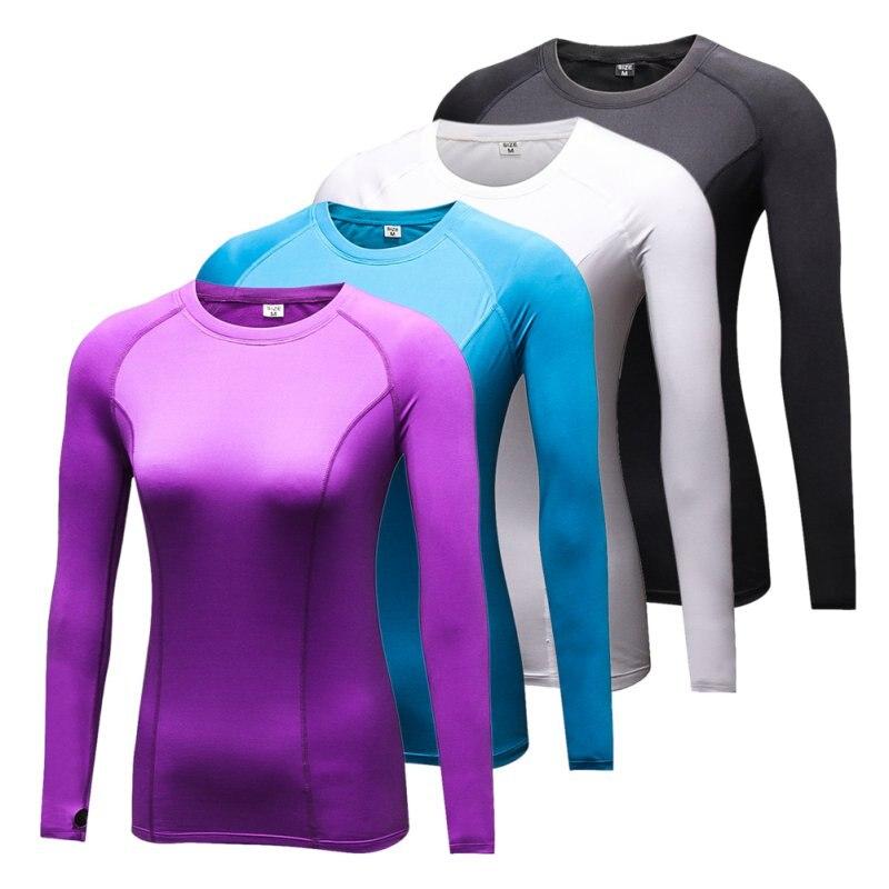 87958f1d10 Camada De Base De Compressão de Secagem rápida Mulheres Yogo Ciclismo Quick-secagem  Camiseta Apertada Camisa de Manga Longa Roupas