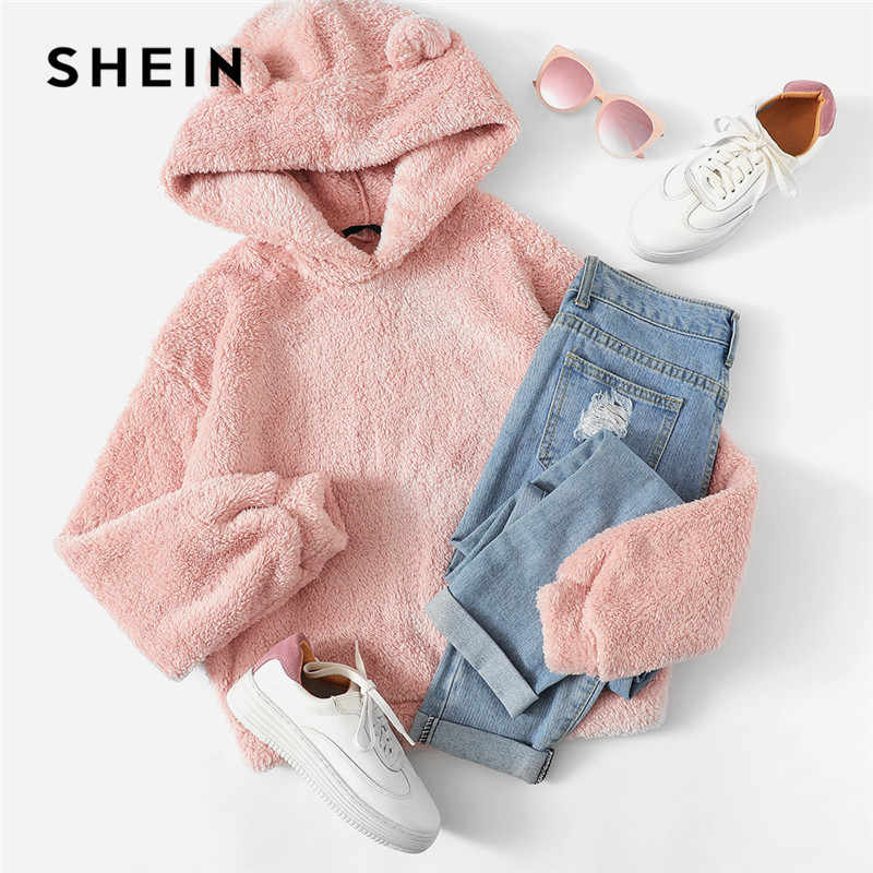 df6ca121d8 ... SHEIN Pink Preppy Lovely With Bears Ears Solid Teddy Hoodie Pullovers  Sweatshirt Autumn Women Campus Casual ...