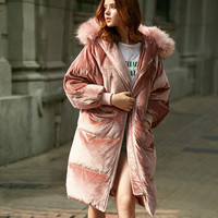 2017 Women Winter Outerwear High Quality Down Coat Pink Loose Thicken Down Jackets Long Parka Fur Collar Overcoat Snowoutwear