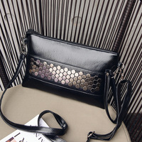 YBYT Brand 2017 New Fashion Casual Women PU Leather Rivet Pack Envelope Package Evening Clutch Shopping