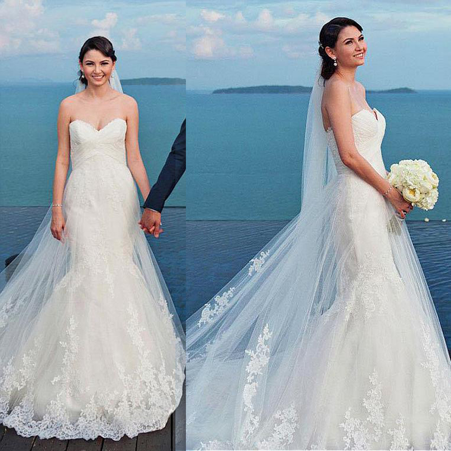 Amazing Tulle Sweetheart Neckline Mermaid Wedding Dresses With Lace Appliques Beach Bridal Dress vestidos festa