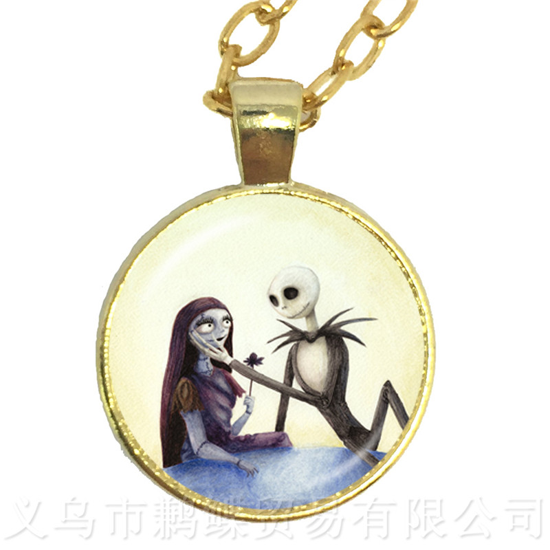 1PC Jack Skellington And Sally Cabochon Necklace Charms Halloween Party Jewelry Pendant For Women Gift Sweater chain