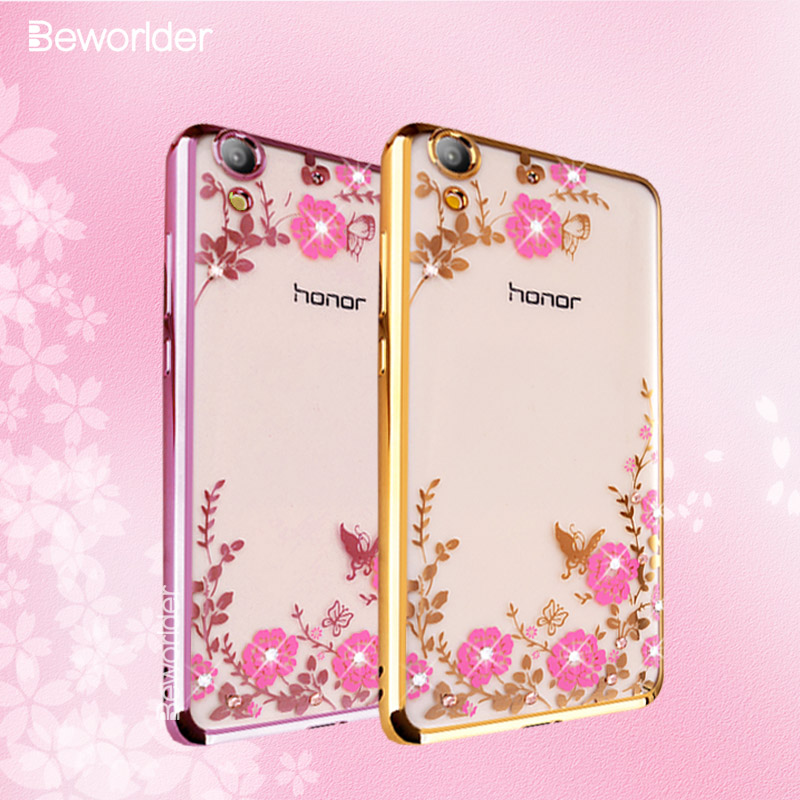 Beworlder For Huawei Honor 5A Play Case Glitter Rhinestone Gold Plating Transparent Soft TPU Silicone Case For Huawei Y6 II Case