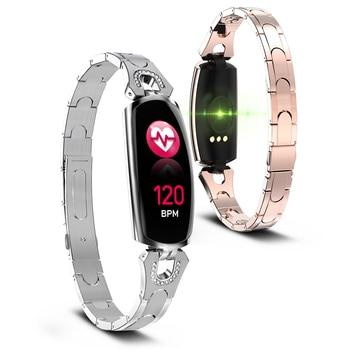 65063a408732 Pulsera inteligente rastreador de Fitness AK16 nueva pulsera inteligente de  moda para mujer con frecuencia cardíaca banda de reloj inteligente para ...