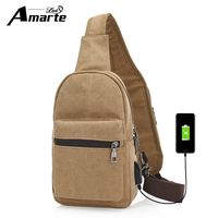 Amarte Sling Bags 2017 New Fashion Vintage Canvas Chest Pack Men Messenger Bags Casual Travel Crossbody