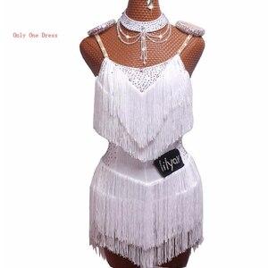 Image 3 - 2020ขายLatin Danceชุดผู้หญิงสีดำลูกไม้ปาร์ตี้Dancer Singer Entertainer Fringeพู่สีดำชุดDM1034
