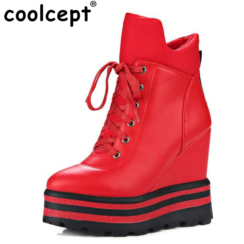 все цены на Coolcept Wedges Women Ankle Boots Platform High Heels Boots Winter Warm Sexy Zipper Female Autumn Boots Lady Shoes Size 34-39