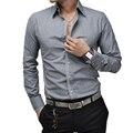 Men Shirt Luxury Brand 2017 Male Long Sleeve Shirts Casual Mens Simple Solid Single Breasted Slim Fit Dress Shirts Mens Hawaiian