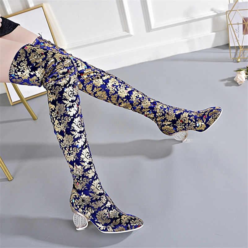 FEDONAS/осенне-зимние винтажные Женские Сапоги выше колена с принтом высокие сапоги без застежки обувь для вечеринок на странном каблуке Женские сапоги для верховой езды