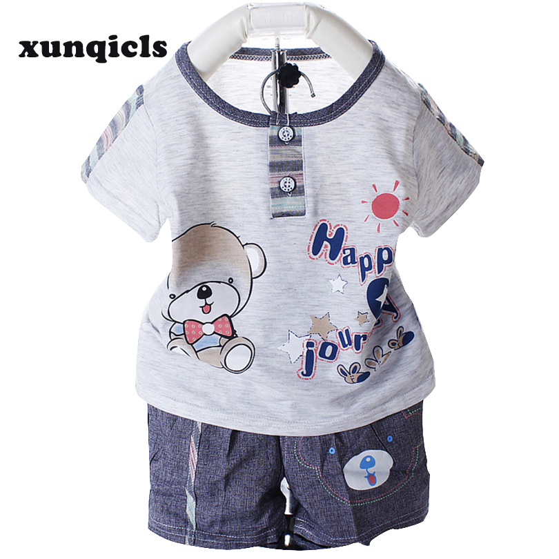 Xunqicls Toddler Baby Clothes Set Infants Boy Short Sleeve +pants Summer Baby Clothing 2017 new baby clothing infants kids boy