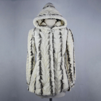 2018 new real mink fur coat jacket hoody high quality fashion striped women natural fur coat thick warm street style