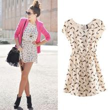 2014 Bargain HOT SALE Women Spring Summer New Fashion Animal Bird Print Vintage Mini Dress Plus Size S-XXXL