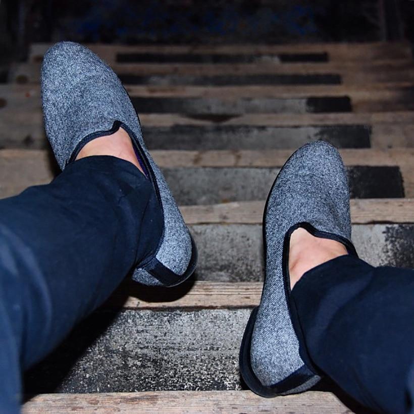 Y Negro A Los Tradicionales Clásico Mano Mocasines Pisos Hecho Estilo En Zapatos Tweed Británico Gris Entretejido Casuales Hombres Piergitar 8zqfawFnx