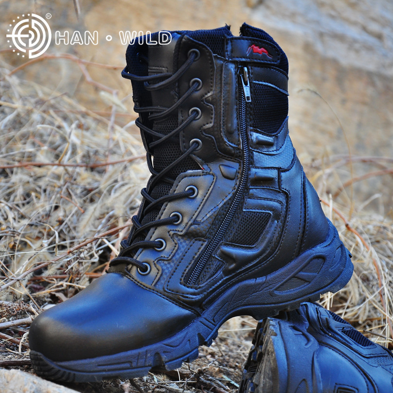 Man Trekking Outdoor Shoes Tactical mountain Military Black Waterproof Leather Boot Men Camping Climbing Hiking Hunting