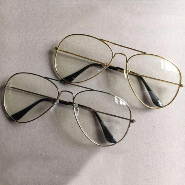 9ba2ad0e4c6 Unisex Big Round Gold Metal Frame Glasses Oversize Clear lens Vintage Retro  Chic Eye Glasses