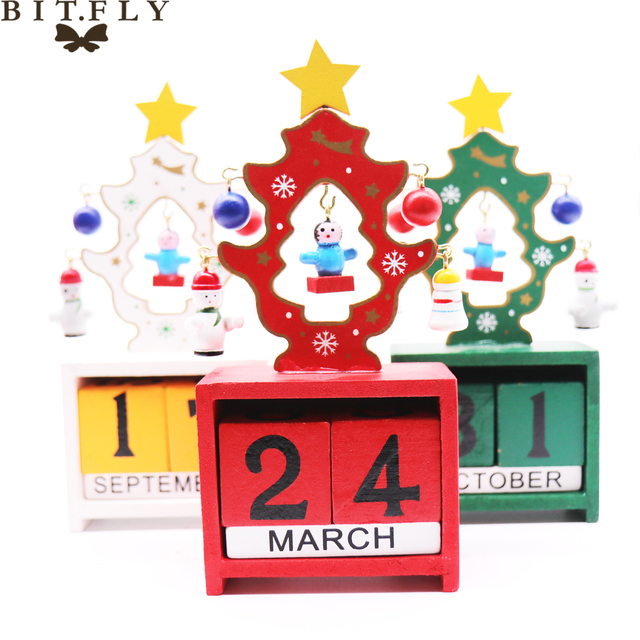 bitfly handmade wooden christmas advent calendar countdown xmas new year ornaments decor christmas tree pattern red - Wooden Christmas Advent Calendar
