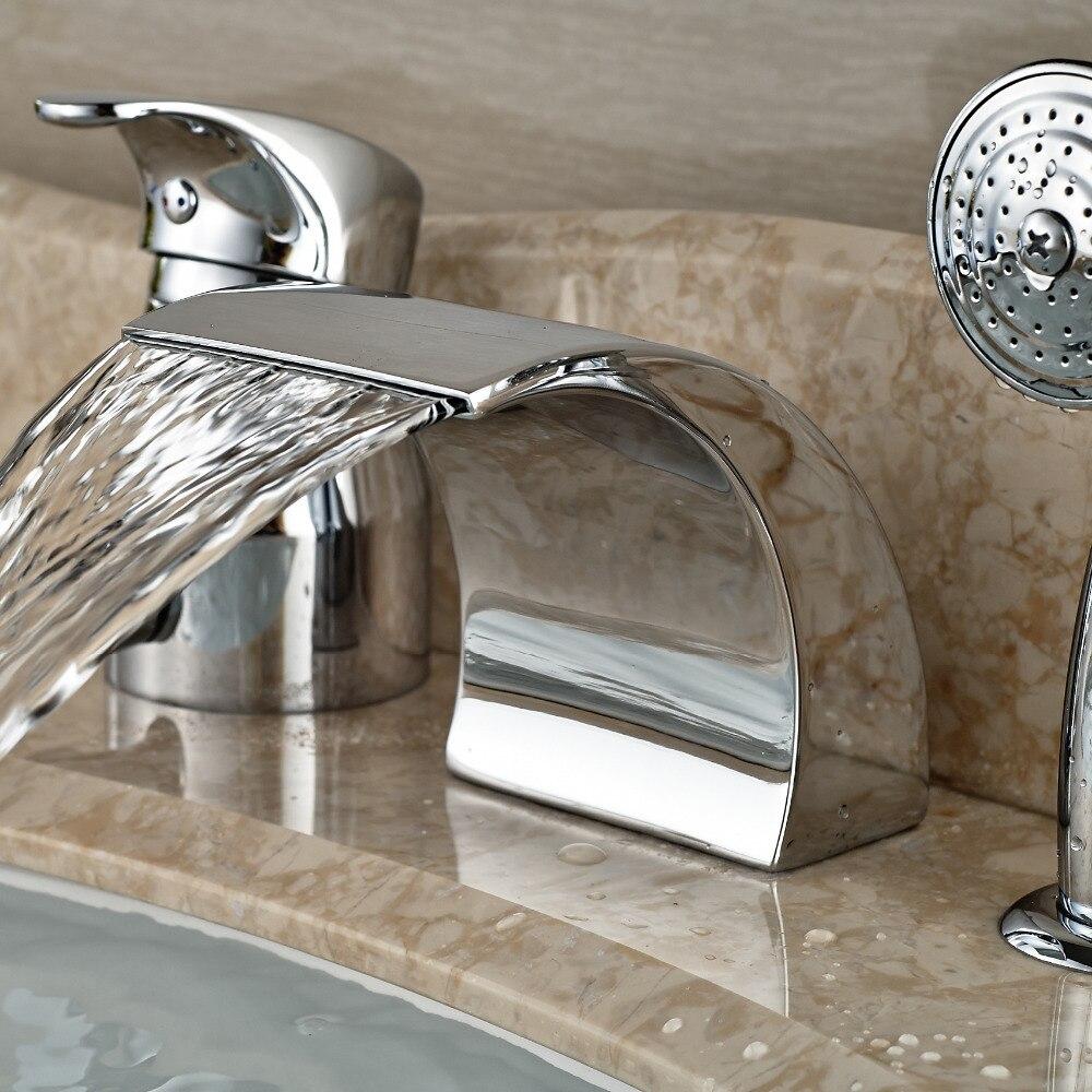 Modern Waterfall Curve Spout Roman Tub Faucet Deck Mount 3pcs ...