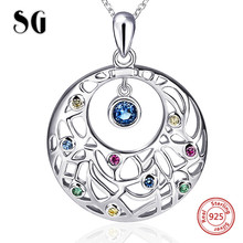 SG 100% 925 sterling silver Flower vine chain necklace&pendant with CZ stone fashion jewelry making for women gifts цена