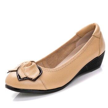 Lindos Pisos Negros   Otoño Nueva Piel De Vaca Suave Fondo Plano Negro Profesional Mujeres Amante Zapatos Linda Decoración Del Arco Absorber El Sudor Contraído