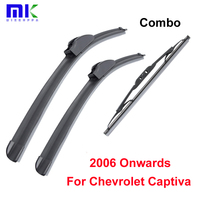 QEEPEI Combo Front And Rear Wiper Blades For Chevrolet Captiva 2006 Onwards Silicone Rubber Windscreen Wipers