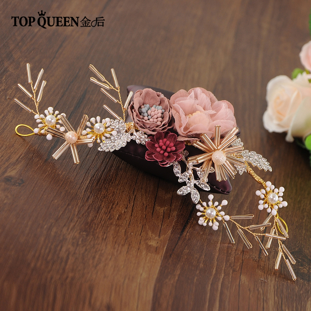 TOPQUEEN HP190 Wedding Tiara Bride Hair Jewelry Handmade Silk Flower Wedding Hair Accessories Bridal Tiara Bridal Headwear