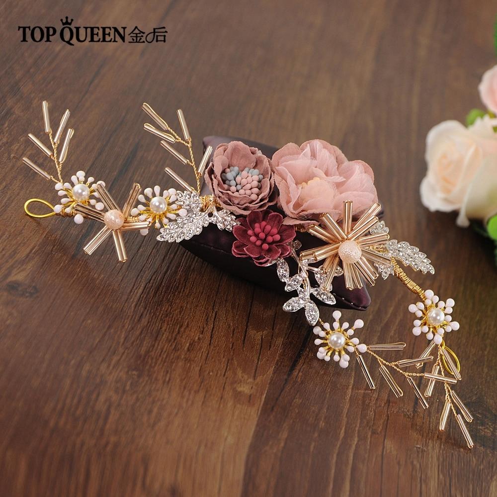 TOPQUEEN HP190 Wedding Tiara Bride Hair Jewelry Handmade Silk Flower Wedding Hair Accessories Bridal Tiara Bridal Headwear