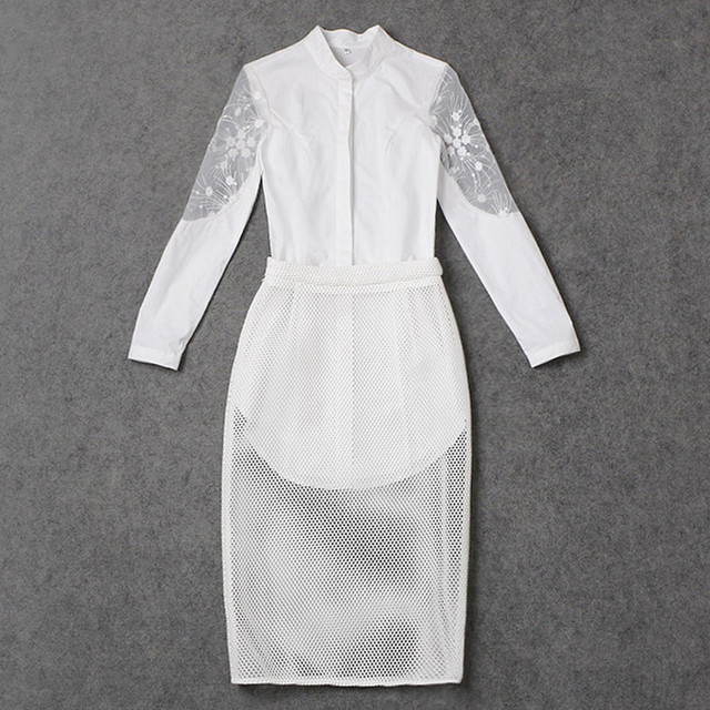 2017 Spring Fashion Clothing Set Two Piece Skirt and Top Embroidery Lace Patchwork White Shirt + Mesh Skirt Fashion Set 4069
