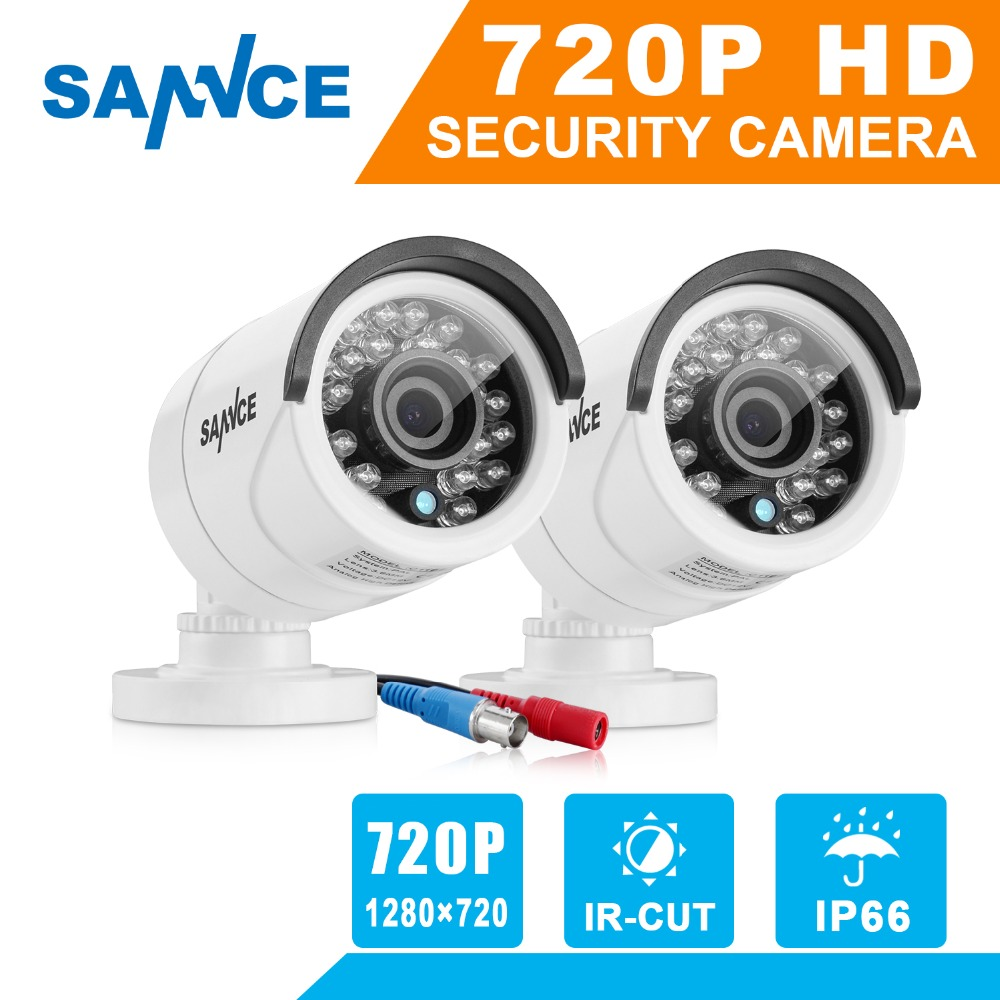 SANNCE 2PCS AHD 720P 1200TVL Security Camera System Outdoor IR Night Vision 1MP CCTV Home Surveillance Security kits sannce hd 4ch cctv system hdmi ahd dvr kit 720p outdoor security waterproof night vision surveillance kits with 4 cameras 1tb