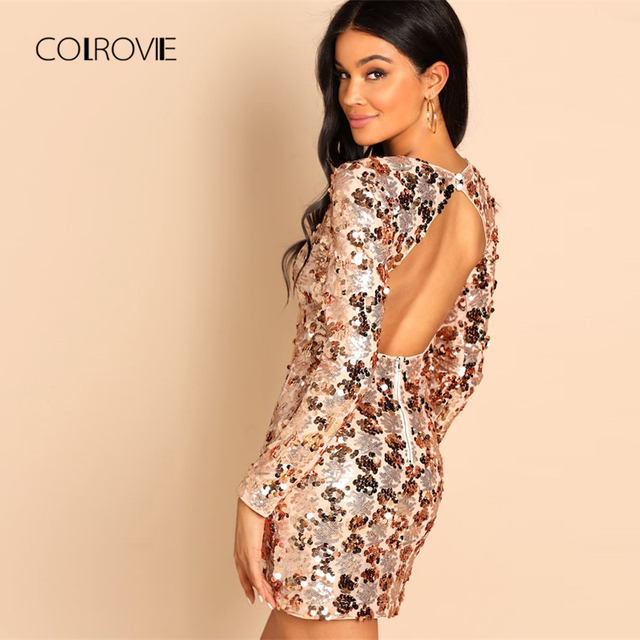 COLROVIE Pink Backless Sequin Bodycon Party Dress Women Clothes 2018 Autumn  Korean Sexy Short Dress Sweet a4113cf296a4