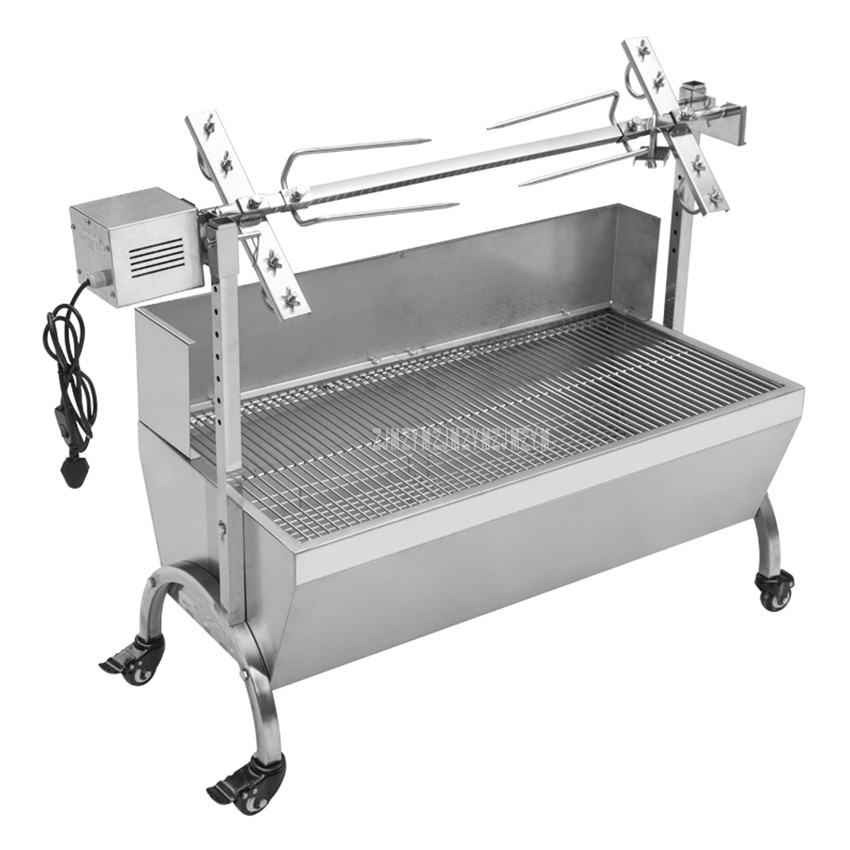 Stainless Steel Charcoal Roasted Whole Lamb Stove BBQ Grill Windsheild Electric Motor Automatic Flip for Outdoor Home Barbecue