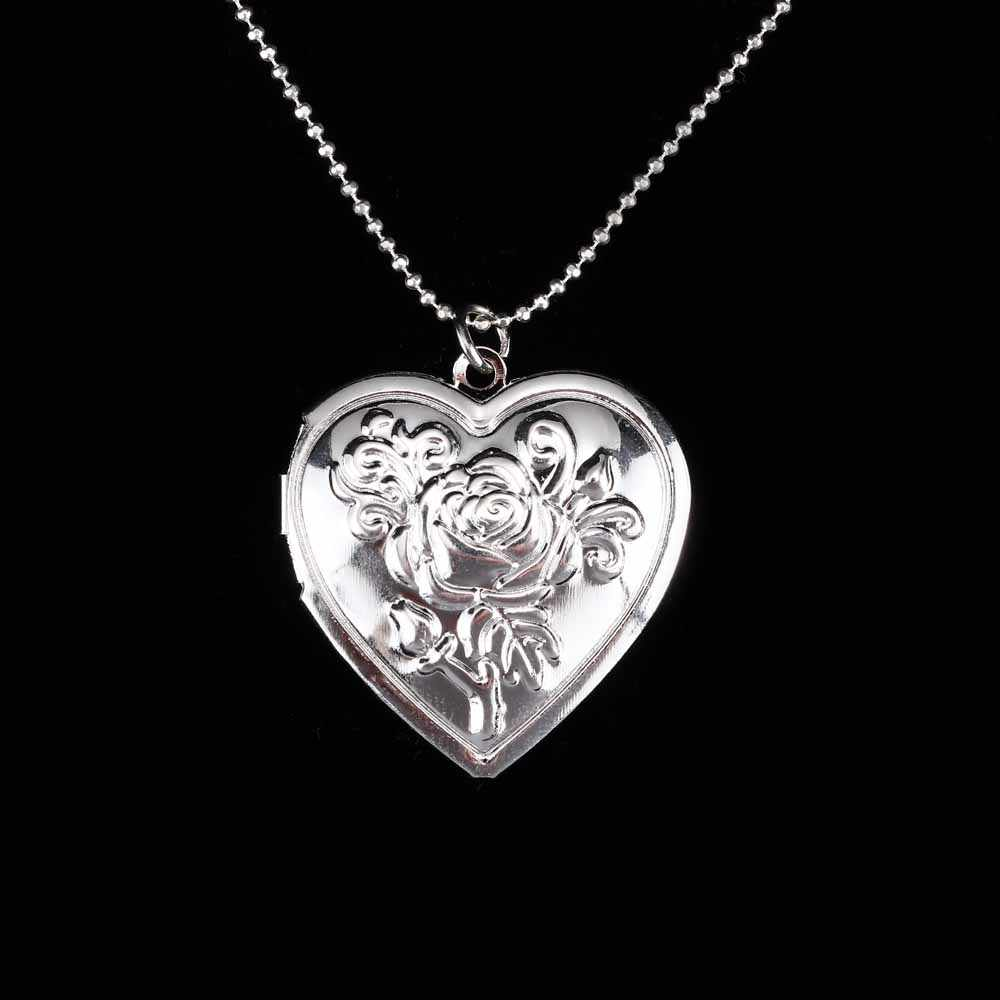 إطار صور الذاكرة المنجد قلادة قلادة رومانسية الحب القلب خمر زهرة الورد مجوهرات اكسسوارات للهدايا زوجين