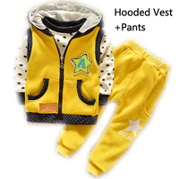 Hot Sales Winter Baby Boy Clothing Sets 3pcs Warn T Shirt Velvet Toddler Boys Clothing Kids