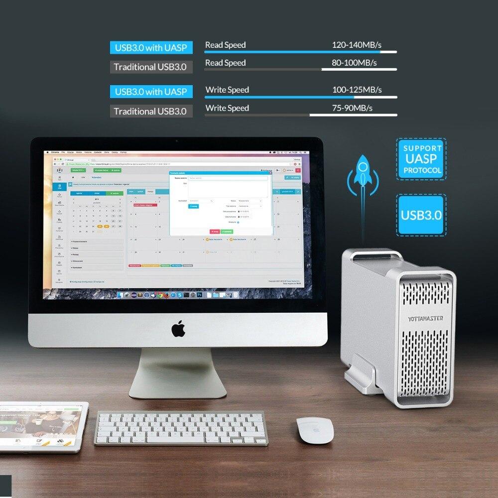 Yottamaster haut de gamme HDD Station d'accueil double baie 2.5 pouces USB3.0 à SATA3.0 boîtier HDD externe 8 to Support Raid 0/1/SPAN - 4