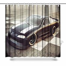 Aplysia Winner S Circle Race Car Posed At The Checkered Finish Line Polyester Fabric Bathroom Shower Curtain 72 X Inches